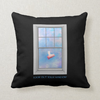 A pig flying past-look out your window throw pillow