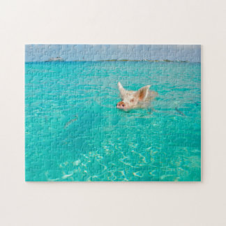 A Pig goes Swimming in the Bahamas. Jigsaw Puzzle