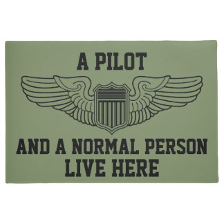 A Pilot and Normal Person Live Here Wings Graphic Doormat