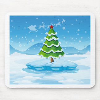 A pine tree above an iceberg with a red star mouse pad