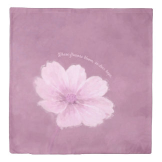 A Pink Cosmos Flower on a Pink Background Duvet Cover