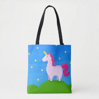 A pink unicorn tote bag