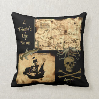 A Pirate's Life For Me Caribbean Treasure Map Throw Pillow
