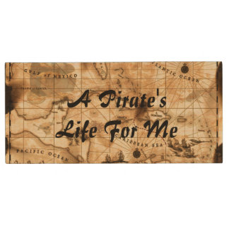 A Pirate's Life For Me Caribbean Treasure Map Wood USB Flash Drive