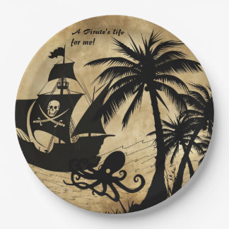 A Pirate's Life For Me Ship at Sea Paper Plate