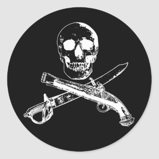 A Pirates Life skullsticker_3 Classic Round Sticker