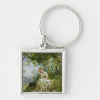 A Place for Reflection Silver-Colored Square Keychain