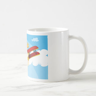 A plane flying with a tiger classic white coffee mug