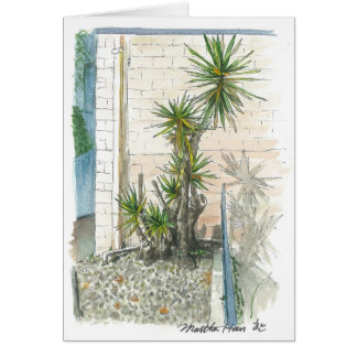 a plant in a corner card