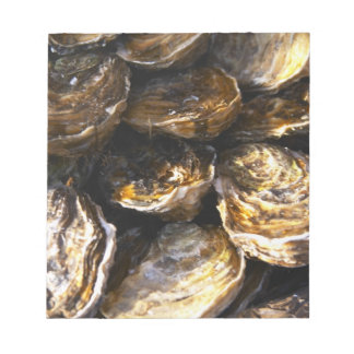 A plate of oysters. notepad