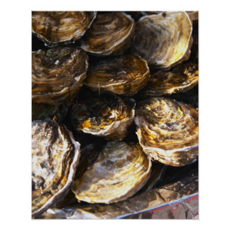 A plate of oysters. poster
