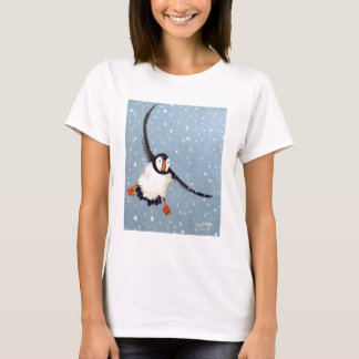 """""""A Playful Puffin"""" Ladies Baby Doll Tee"""