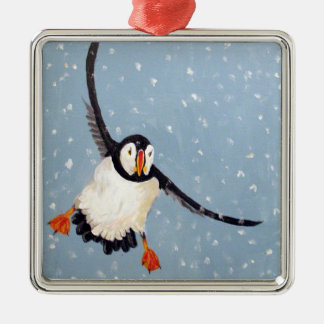 """""""A Playful Puffin"""" Square Ornament"""