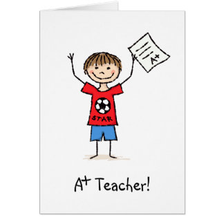 A plus teacher thank you card with boy and grades