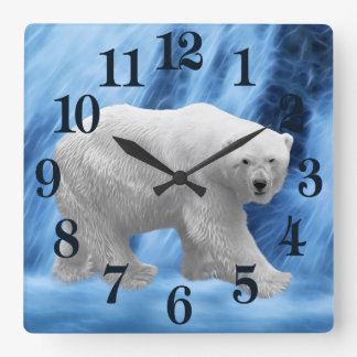 A polar Bear at the frozen waterfall Square Wall Clock