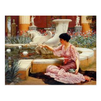 A Pompeian Garden - Godward Postcard