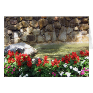 A Pond with red flowers - Greeting Card