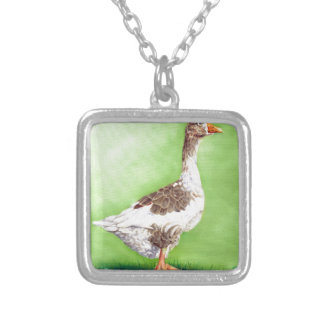 A Portrait of a Goose Silver Plated Necklace