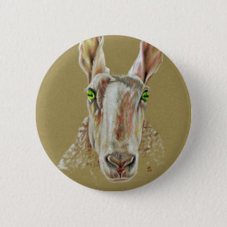 A portrait of a sheep 2 inch round button
