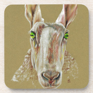 A portrait of a sheep beverage coaster