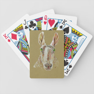 A portrait of a sheep bicycle playing cards