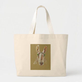 A portrait of a sheep large tote bag