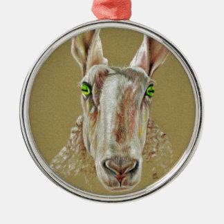 A portrait of a sheep metal ornament