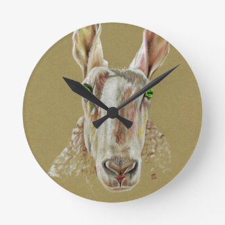 A portrait of a sheep round clock