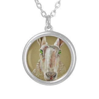 A portrait of a sheep silver plated necklace