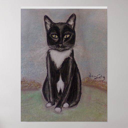 A Portrait of a Tuxedo Cat Poster