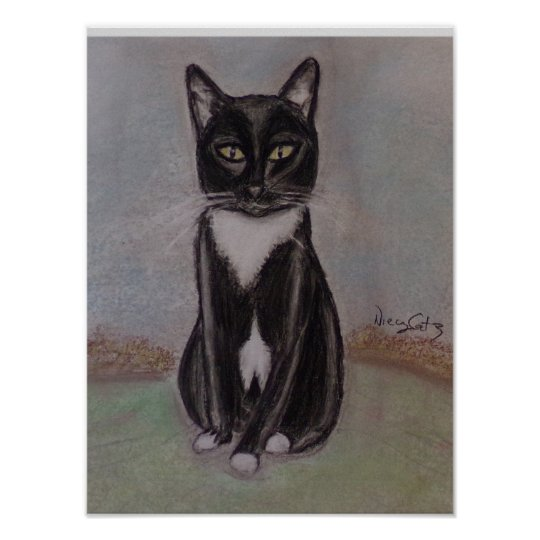 A Portrait of a Tuxedo Cat Poster