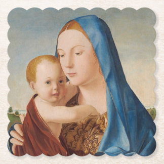A Portrait of Mary and Baby Jesus Paper Coaster