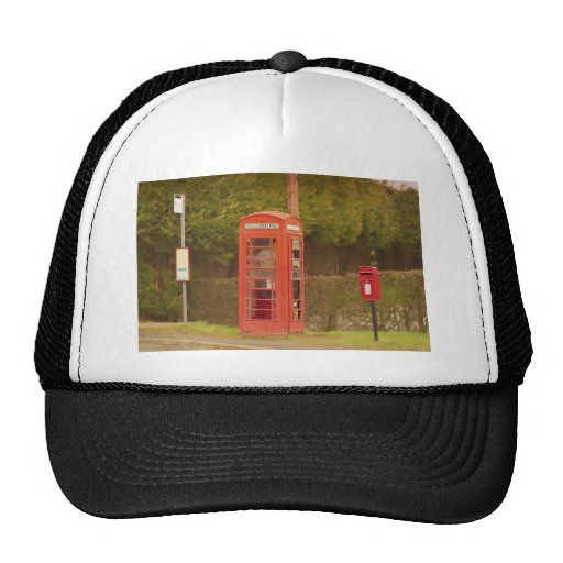 A Post Box, A Telephone Box and a Bus Stop Mesh Hats