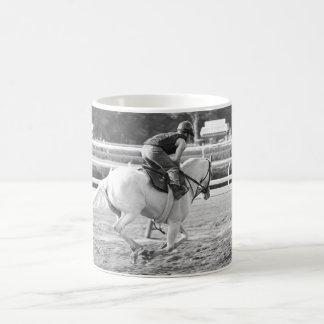 A Powerful White Thoroughbred at Saratoga. Coffee Mug