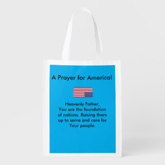 A prayer for America tote bag Reusable Grocery Bag