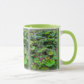 A pretty pond full of lily pads at a water temple mug