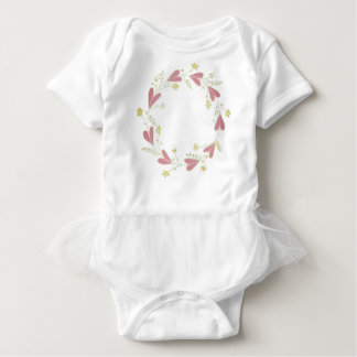 A Pretty Ring of Hearts and Flowers Baby Bodysuit