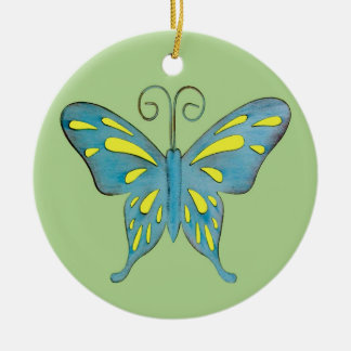 A Pretty Teal and Yellow Butterfly on Green Round Ceramic Ornament