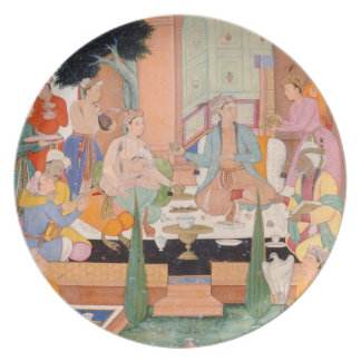 A prince and companions take refreshments and list plate