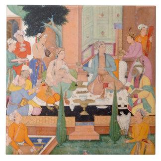 A prince and companions take refreshments and list tile