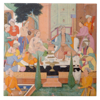 A prince and companions take refreshments and list tiles