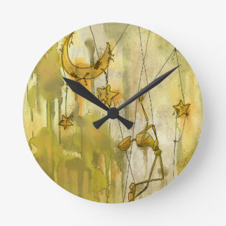 A Puppet's Dream of Moon and Stars on String Round Clock