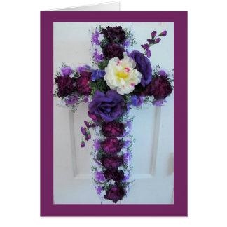 A Purple Flower Cross Arrangement Card