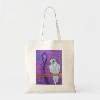 A purple themed Dove tote