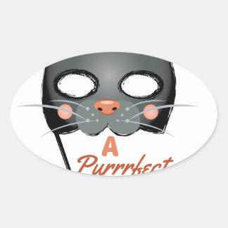 A Purrrfect Costume Oval Sticker