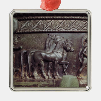 A Quadriga and a Hoplite Silver-Colored Square Ornament
