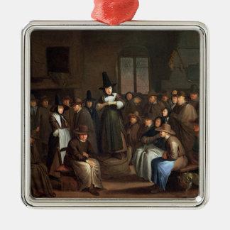 A Quakers Meeting Metal Ornament