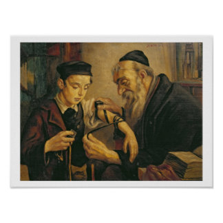 A Rabbi tying the Phylacteries to the arm of a boy Poster