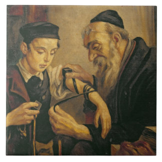 A Rabbi tying the Phylacteries to the arm of a boy Tile
