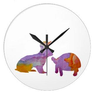A rabbit and a tortoise clocks